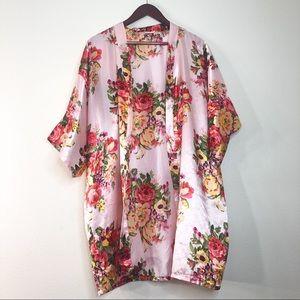 Sweaters - Shiny Pink Satin Floral Kimono